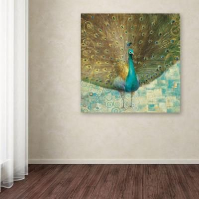 """Teal Peacock on Gold"""" by Danhui Nai Printed Canvas Wall Art from Home Depot"""