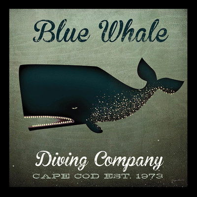 'Blue Whale Diving Company' by Ryan Fowler Framed Vintage Advertisement