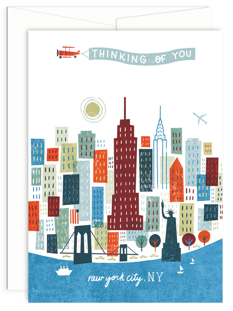 Colorful City Collection New York City 5x7 Greeting Card By Michael