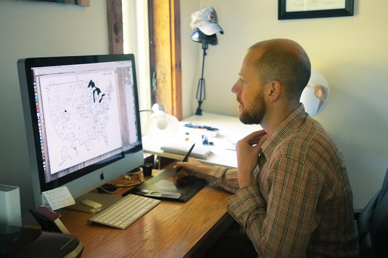 Michael Mullan in his studio
