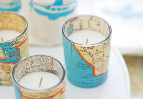 Vintage Map Votive Candles on Buzzfeed