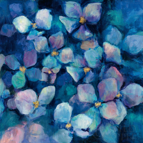 23538 Midnight Blue Hydrangeas with Gold by Mariyln Hageman